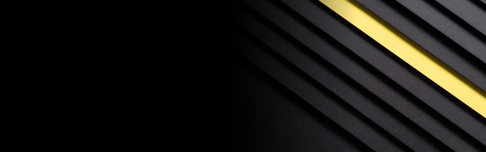Abstrakt bild. Guldlinjer över en svart bakgrund